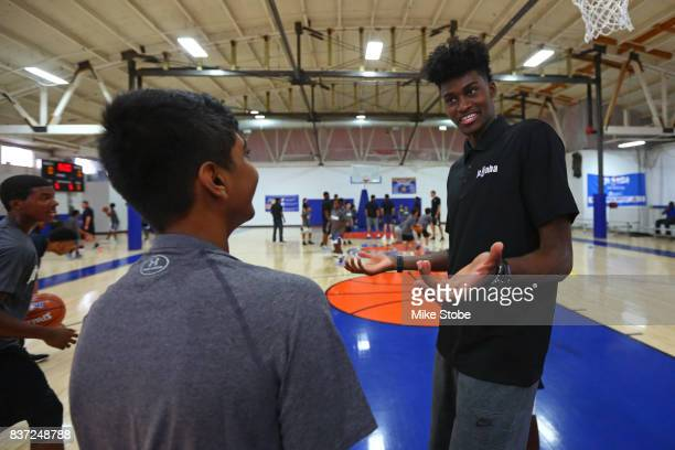 Jonathan Isaac of the Orlando Magic participates in a Jr NBA Clinic in New York New York on August 15 2017 NOTE TO USER User expressly acknowledges...