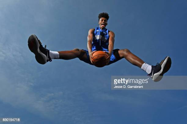 Jonathan Isaac of the Orlando Magic poses for a portrait during the 2017 NBA rookie photo shoot on August 11 2017 at the Madison Square Garden...