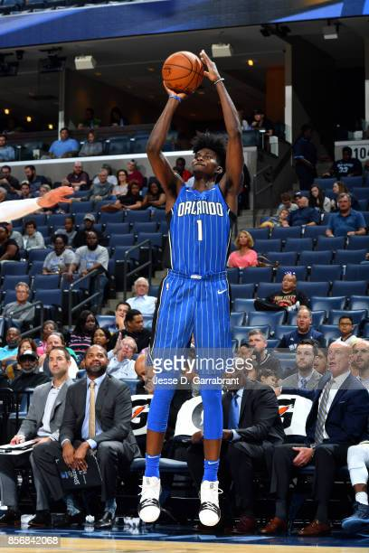 Jonathan Isaac of the Orlando Magic shoots the ball during the game against the Memphis Grizzlies during a preseason game on October 2 2017 at...