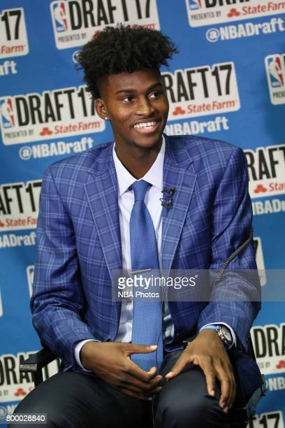 Jonathan Isaac speaks to the media after being selected sixth overall by the Orlando Magic at the 2017 NBA Draft on June 22 2017 at Barclays Center...