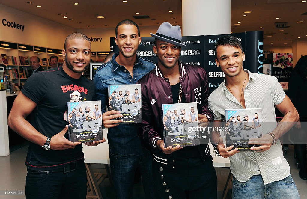 Jonathan 'JB' Gill, <a gi-track='captionPersonalityLinkClicked' href=/galleries/search?phrase=Marvin+Humes&family=editorial&specificpeople=2887070 ng-click='$event.stopPropagation()'>Marvin Humes</a>, <a gi-track='captionPersonalityLinkClicked' href=/galleries/search?phrase=Oritse+Williams&family=editorial&specificpeople=5739700 ng-click='$event.stopPropagation()'>Oritse Williams</a> and <a gi-track='captionPersonalityLinkClicked' href=/galleries/search?phrase=Aston+Merrygold&family=editorial&specificpeople=5739699 ng-click='$event.stopPropagation()'>Aston Merrygold</a> of JLS launch their book 'Just Between Us' at Selfridges on September 1, 2010 in London, England.