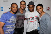 Jonathan 'JB' Gill Marvin Humes Oritse Williams and Aston Merrygold of JLS attend the album launch party in association with W Hotels and American...