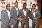 Jonathan 'JB' Gill Marvin Humes Oritse Williams and Aston Merrygold of JLS arrive at The Brit Awards 2010 held at Earls Court on February 16 2010 in...