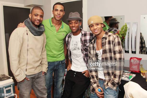 Jonathan 'JB' Gill Marvin Humes Oritse Williams and Aston Merrygold of JLS pose backstage before the last night of the JLS UK Tour 2010 held at...