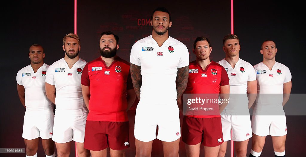 Jonathan Joseph Chris Robshaw Alex Corbisiero Courtney Lawes Alex Goode Owen Farrell and Mike Brown pose during the England Rugby World Cup kit...