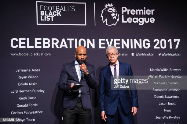 Jonathan Joseph DJ Spoony and Lord Herman Ouseley attend the Football Black List 2016 at Village Underground on March 28 2017 in London England
