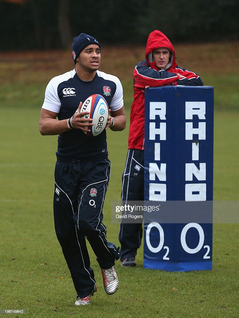 Jonathan Joseph looks on during the England training session held at Pennyhill Park on November 20, 2012 in Bagshot, England.