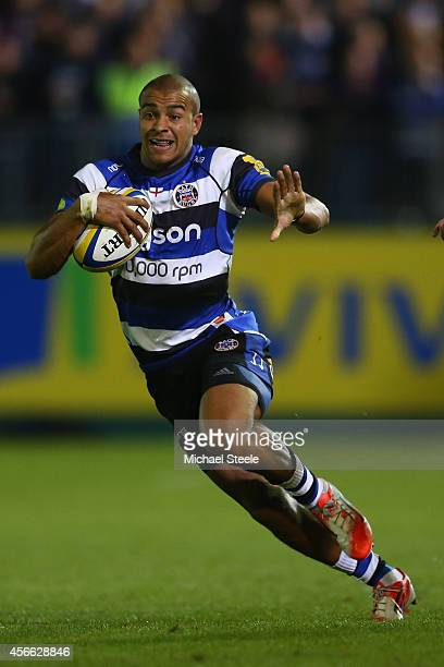 Jonathan Joseph of Bath during the Aviva Premiership match between Bath Rugby and Saracens at the Recreation Ground on October 3 2014 in Bath England