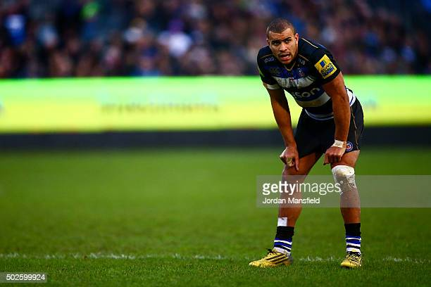 Jonathan Joseph of Bath looks on during the Aviva Premiership match between Bath Rugby and Worcester Warriors at the Recreation Ground on December 27...