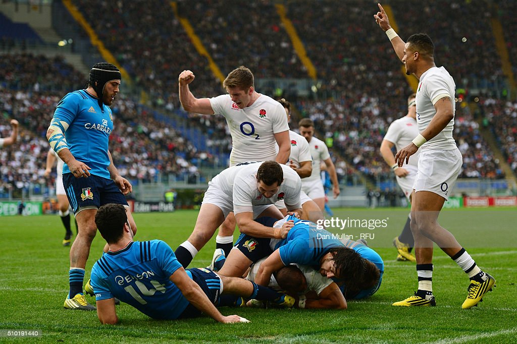 <a gi-track='captionPersonalityLinkClicked' href=/galleries/search?phrase=Jonathan+Joseph+-+Rugby+Player&family=editorial&specificpeople=11460526 ng-click='$event.stopPropagation()'>Jonathan Joseph</a> of England crashes over the line to score his team's fourth try and complete his hat trickduring the RBS Six Nations match between Italy and England at the Stadio Olimpico on February 14, 2016 in Rome, Italy.
