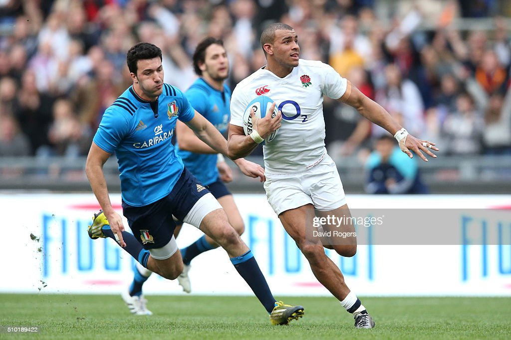 <a gi-track='captionPersonalityLinkClicked' href=/galleries/search?phrase=Jonathan+Joseph+-+Rugby+Player&family=editorial&specificpeople=11460526 ng-click='$event.stopPropagation()'>Jonathan Joseph</a> of England runs in his team's second try during the RBS Six Nations match between Italy and England at the Stadio Olimpico on February 14, 2016 in Rome, Italy.