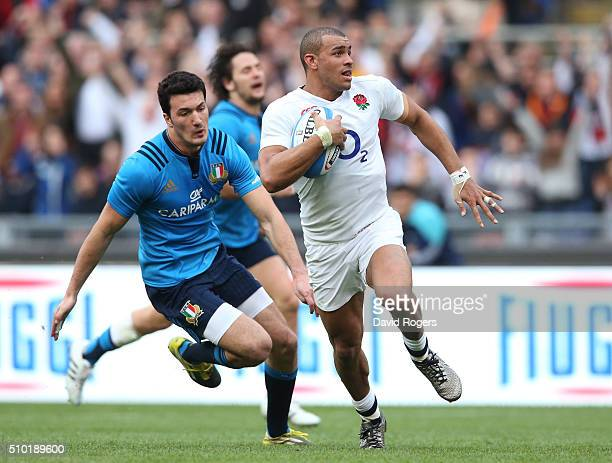 Jonathan Joseph of England runs in his team's second try during the RBS Six Nations match between Italy and England at the Stadio Olimpico on...