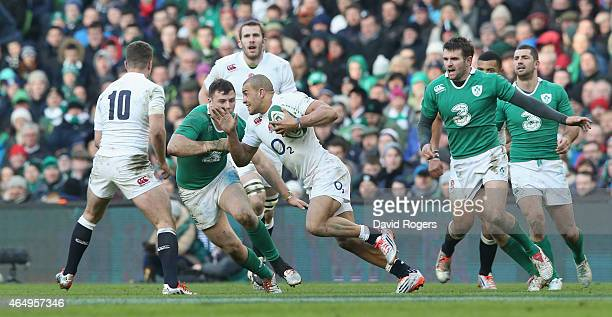 Jonathan Jospeh of England breaks with the ball during the RBS Six Nations match between Ireland and England at the Aviva Stadium on March 1 2015 in...
