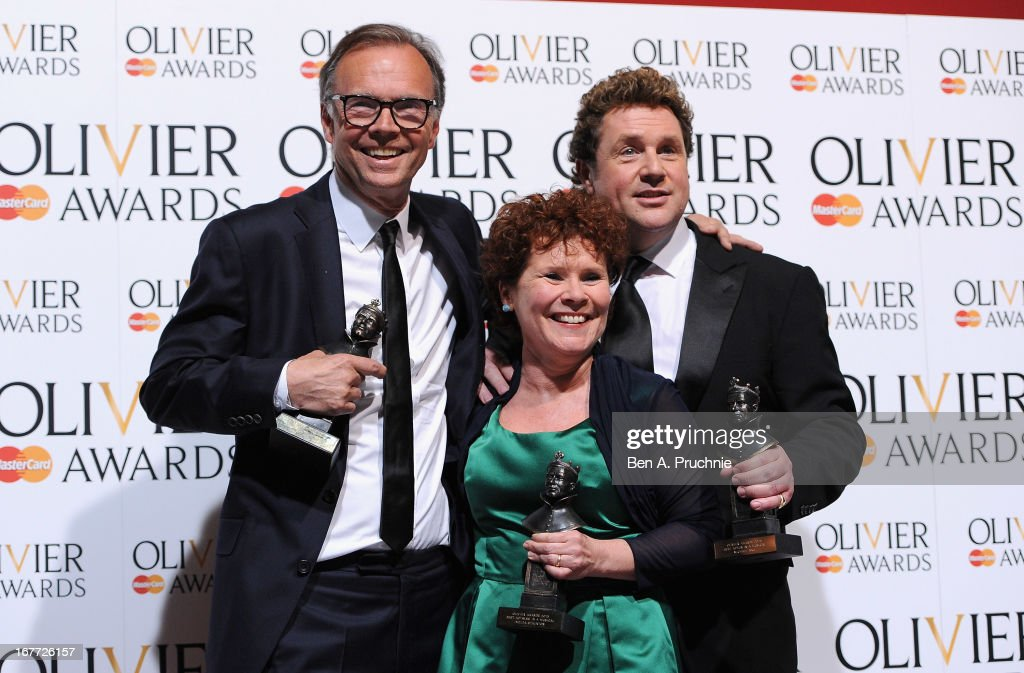 Jonathan Kent with his Best Musical Revival award, <a gi-track='captionPersonalityLinkClicked' href=/galleries/search?phrase=Imelda+Staunton&family=editorial&specificpeople=202926 ng-click='$event.stopPropagation()'>Imelda Staunton</a> with ther Best Actress in a Musical award and <a gi-track='captionPersonalityLinkClicked' href=/galleries/search?phrase=Michael+Ball+-+Singer&family=editorial&specificpeople=213179 ng-click='$event.stopPropagation()'>Michael Ball</a> with his Best Actor in a Musical award during The Laurence Olivier Awards at the Royal Opera House on April 28, 2013 in London, England.