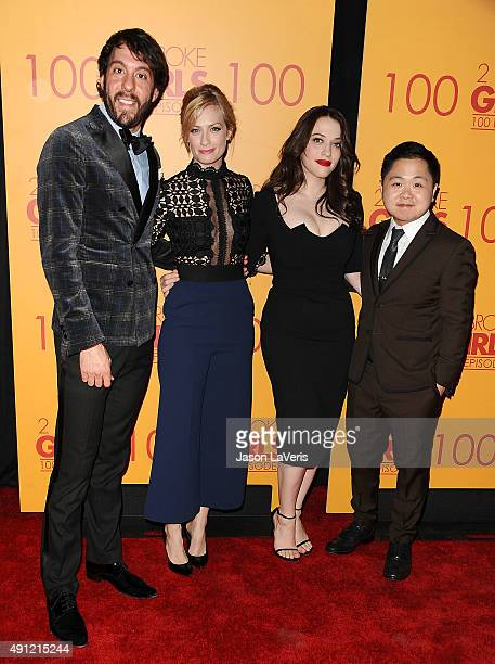 Jonathan Kite Beth Behrs Kat Dennings and Matthew Moy attend the 100th episode celebration of CBS' '2 Broke Girls' at Mrs Fish on October 3 2015 in...
