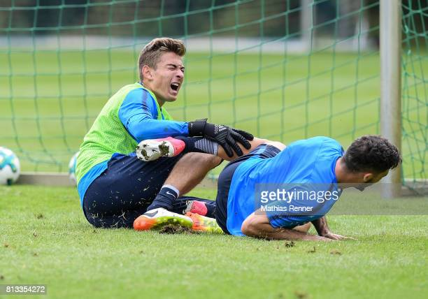Jonathan Klinsmann and Mathew Leckie during the fifth day of the training camp of Hertha BSC on july 12 2017 in Bad Saarow Germany