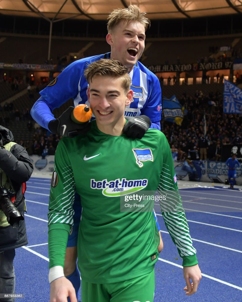 Jonathan Klinsmann and Maximilian Mittelstaedt of Hertha BSC after the UEFA Europa League, Group J match between Hertha BSC and Oestersunds FK on December 7, 2017 in Berlin, Germany.