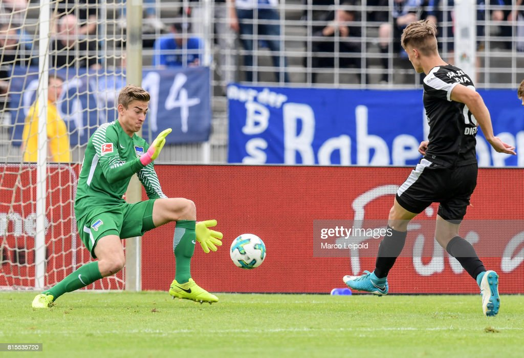 Jonathan Klinsmann of Hertha BSC and Florian Dietz of FC Carl-Zeiss Jena during the test match between Carl-Zeiss Jena and Hertha BSC on july 16, 2017 in Jena, Germany.