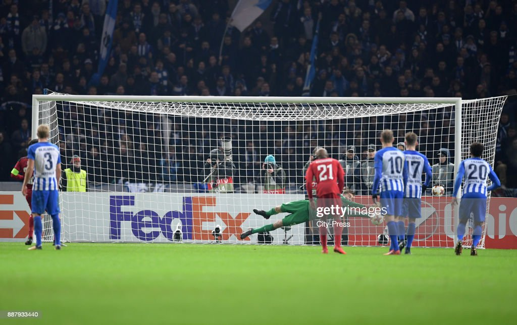 Jonathan Klinsmann of Hertha BSC holds the penalty of Brwa Nouri of Oestersunds FK during the UEFA Europa League, Group J match between Hertha BSC and Oestersunds FK on December 7, 2017 in Berlin, Germany.