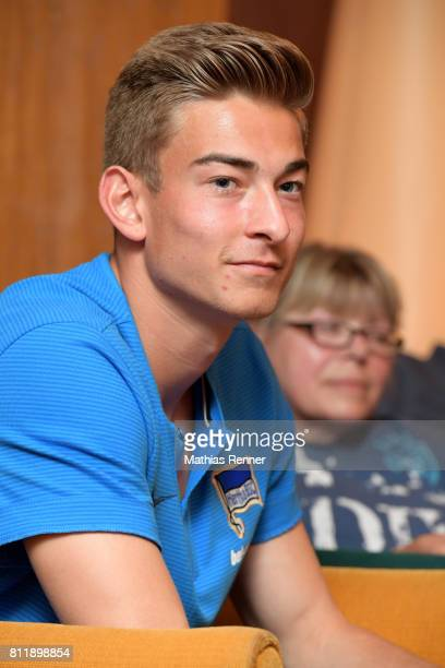 Jonathan Klinsmann of Hertha BSC speaks with the press during the training camp of Hertha BSC on july 10 2017 in Bad Saarow Germany
