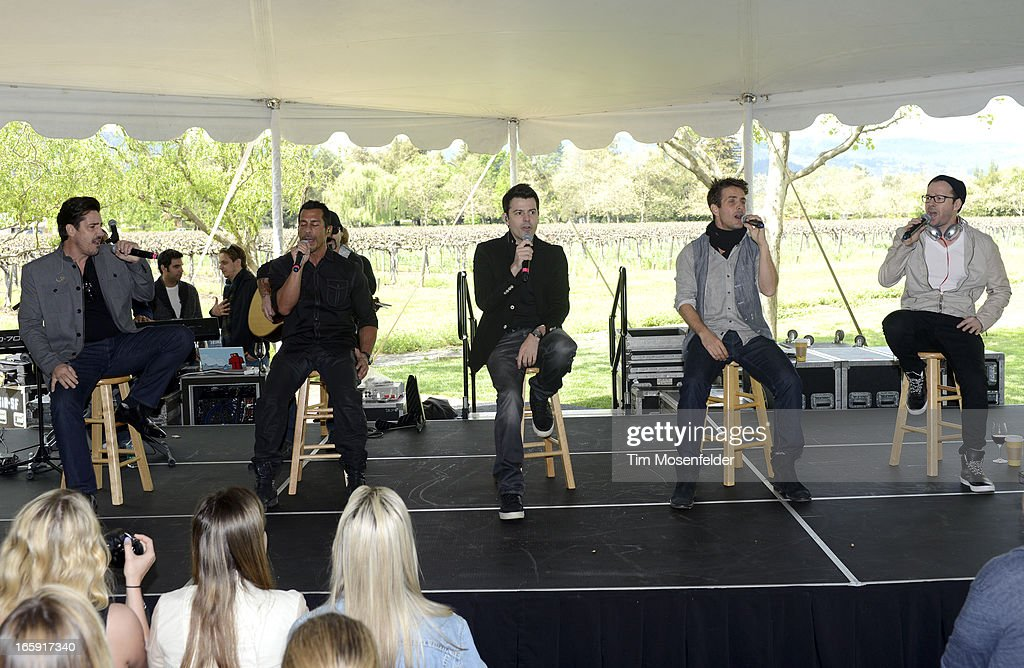 Jonathan Knight, Danny Wood, Jordan Knight, Joey McIntyre, and Donnie Wahlberg of New Kids on the Block perform at Sutter Home Winery as part of Live In The Vineyard on April 6, 2013 in Napa, California.