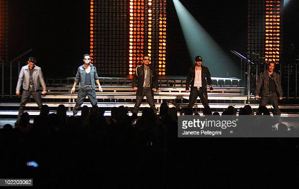 Jonathan Knight Joey McIntyre Jordan Knight Donnie Wahlberg and Danny Wood of New Kids on the Block perform at Radio City Music Hall on June 17 2010...