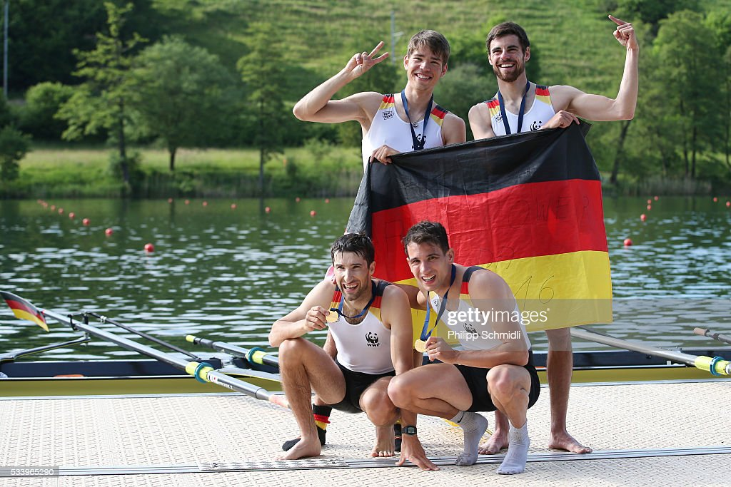 <a gi-track='captionPersonalityLinkClicked' href=/galleries/search?phrase=Jonathan+Koch&family=editorial&specificpeople=763097 ng-click='$event.stopPropagation()'>Jonathan Koch</a>, Lucas Schaefer, Tobias Franzmann and Lars Wichert of Germany celebrate after qualifying for the 2016 Summer Olympic Games in Rio during Day 3 of the 2016 FISA European And Final Olympic Qualification Regatta at Rotsee on May 24, 2016 in Lucerne, Switzerland.