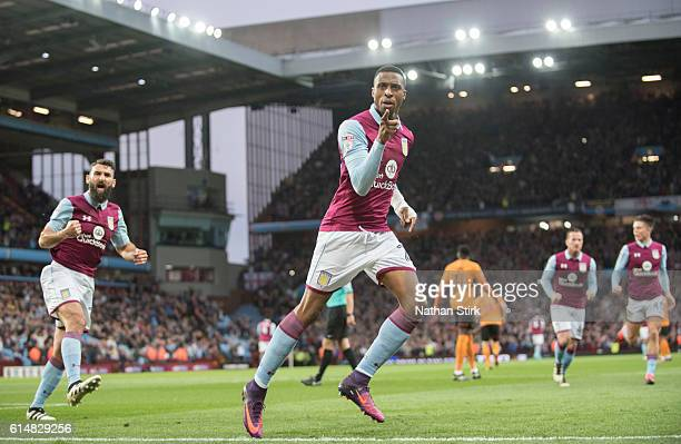Jonathan Kodjia of Aston Villa celebrates after scoring the opener during the Sky Bet Championship match between Aston Villa and Wolverhampton...