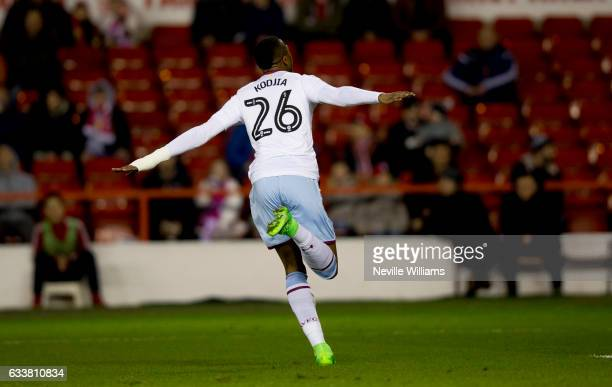 Jonathan Kodjia of Aston Villa celebrates scoring for Aston Villa during the Sky Bet Championship match between Nottingham Forest and Aston Villa at...