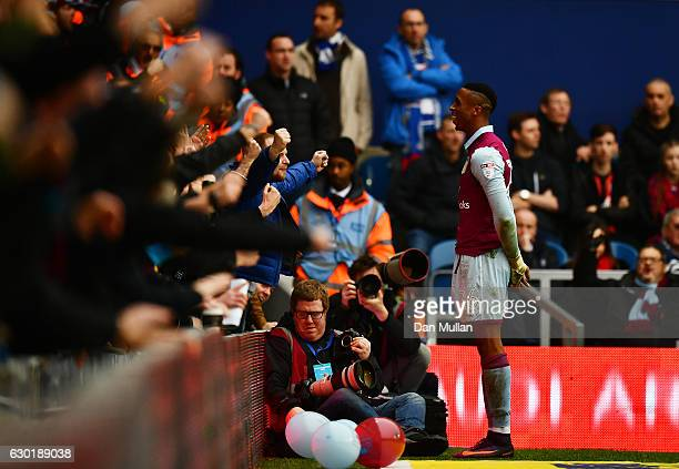 Jonathan Kodjia of Aston Villa celebrates scoring his side's first goal during the Sky Bet Championship match between Queens Park Rangers and Aston...