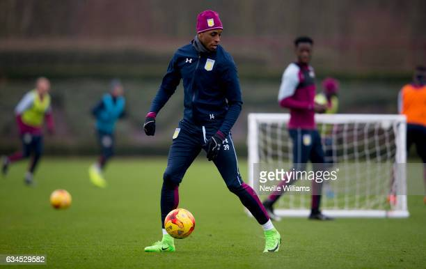 Jonathan Kodjia of Aston Villa during a training session at the club's training ground at Bodymoor Heath on February 10 2017 in Birmingham England