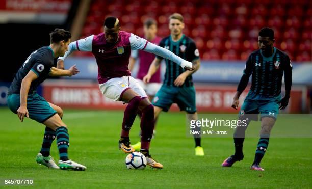 Jonathan Kodjia of Aston Villa during the Premier League 2 match between Aston Villa and Southampton at Banks' Stadium on September 11 2017 in...