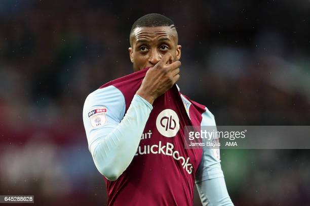 Jonathan Kodjia of Aston Villa during the Sky Bet Championship match between Aston Villa and Derby County at Villa Park on February 25 2017 in...