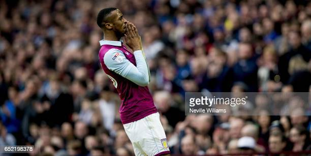 Jonathan Kodjia of Aston Villa during the Sky Bet Championship match between Aston Villa and Sheffield Wednesday at Villa Park on March 11 2017 in...