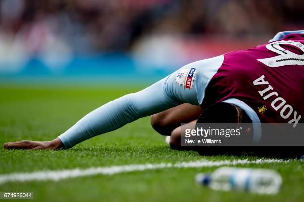 Jonathan Kodjia of Aston Villa during the Sky Bet Championship match between Blackburn Rovers and Aston Villa at the Ewood Park on April 29 2017 in...