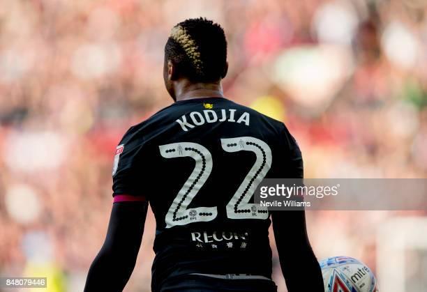 Jonathan Kodjia of Aston Villa during the Sky Bet Championship match between Barnsley and Aston Villa at the Oakwell Stadium on September 16 2017 in...