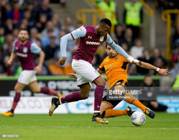 Jonathan Kodjia of Aston Villa during the Sky Bet Championship match between Wolverhampton Wanderers and Aston Villa at the Molineux on October 14...