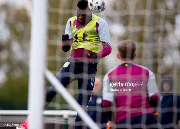 Jonathan Kodjia of Aston Villa in action during a training session at the club's training ground at Bodymoor Heath on April 28 2017 in Birmingham...