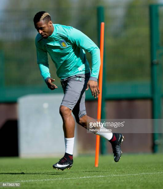 Jonathan Kodjia of Aston Villa in action during a training session at the club's training ground at Bodymoor Heath on September 15 2017 in Birmingham...