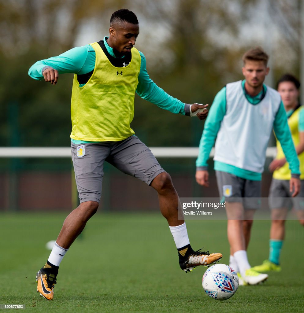 Jonathan Kodjia of Aston Villa in action during a training session at the club's training ground at Bodymoor Heath on October 13, 2017 in Birmingham, England.