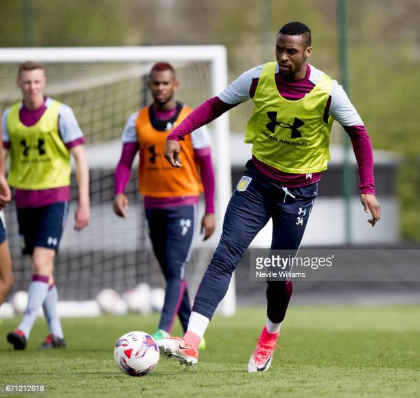 Jonathan Kodjia of Aston Villa in action during at training session at the club's training ground at Bodymoor Heath on April 21 2017 in Birmingham...