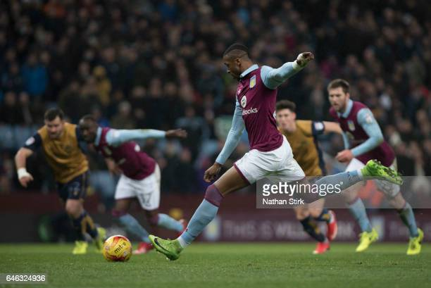Jonathan Kodjia of Aston Villa misses a penality during the Sky Bet Championship match between Aston Villa and Bristol City at Villa Park on February...