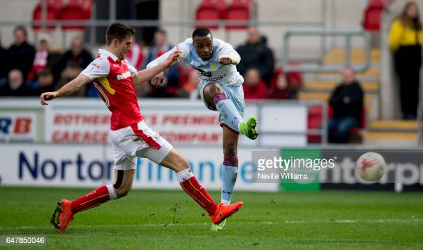 Jonathan Kodjia of Aston Villa scores for Aston Villa during the Sky Bet Championship match between Rotherham United and Aston Villa at the New York...