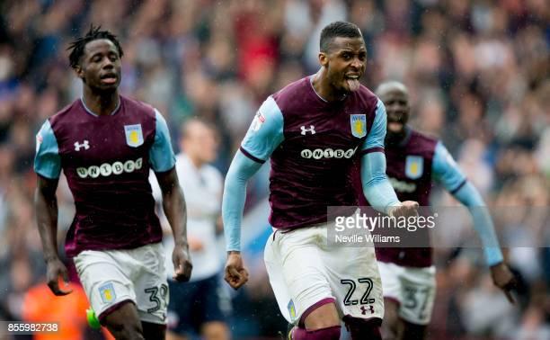 Jonathan Kodjia of Aston Villa scores fro Aston Villa during the Sky Bet Championship match between Aston Villa and Bolton Wanderers at Villa Park on...