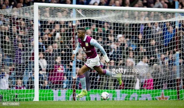 Jonathan Kodjia of Aston Villa scores his second goal for Aston Villa during the Sky Bet Championship match between Aston Villa and Sheffield...