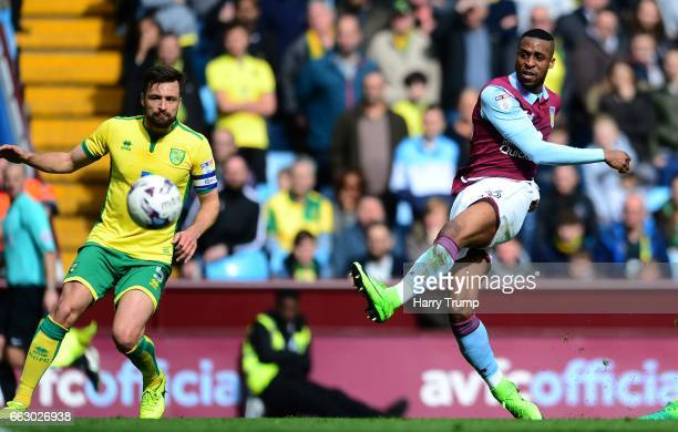 Jonathan Kodjia of Aston Villa scores his sides first goal during the Sky Bet Championship match between Aston Villa and Norwich City at Villa Park...