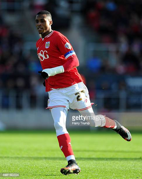 Jonathan Kodjia of Bristol City during the Sky Bet Championship match between Bristol City and Hull City at Ashton Gate on November 21 2015 in...