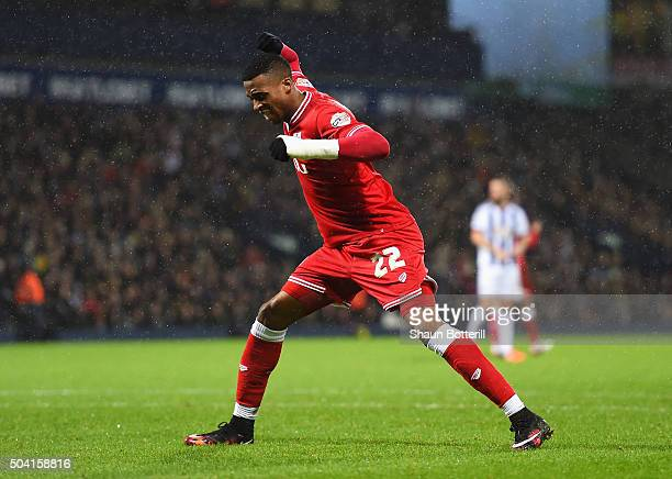 Jonathan Kodjia of Bristol City reacts after missing a chance during the Emirates FA Cup Third Round match between West Bromwich Albion and Bristol...