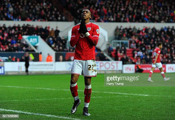 Jonathan Kodjia of Bristol City shows a look of dejection during the Sky Bet Championship match between Bristol City and Birmingham City at Ashton...