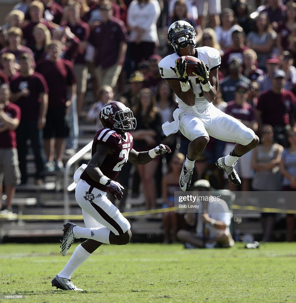 Jonathan Krause #17 of the Vanderbilt Commodores goes up over Deshazor Everett #29 of the Texas A&M Aggies for a reception in the second quarter at Kyle Field on October 26, 2013 in College Station, Texas.